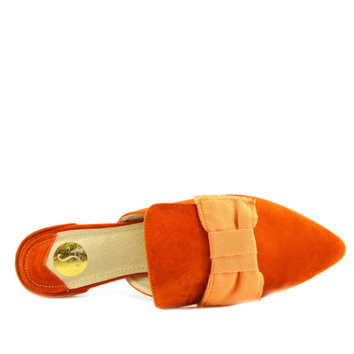 Women's Yellow Velvet Point Slipper Shoes  Casual Mules Pointed Flat Slippers - Orange