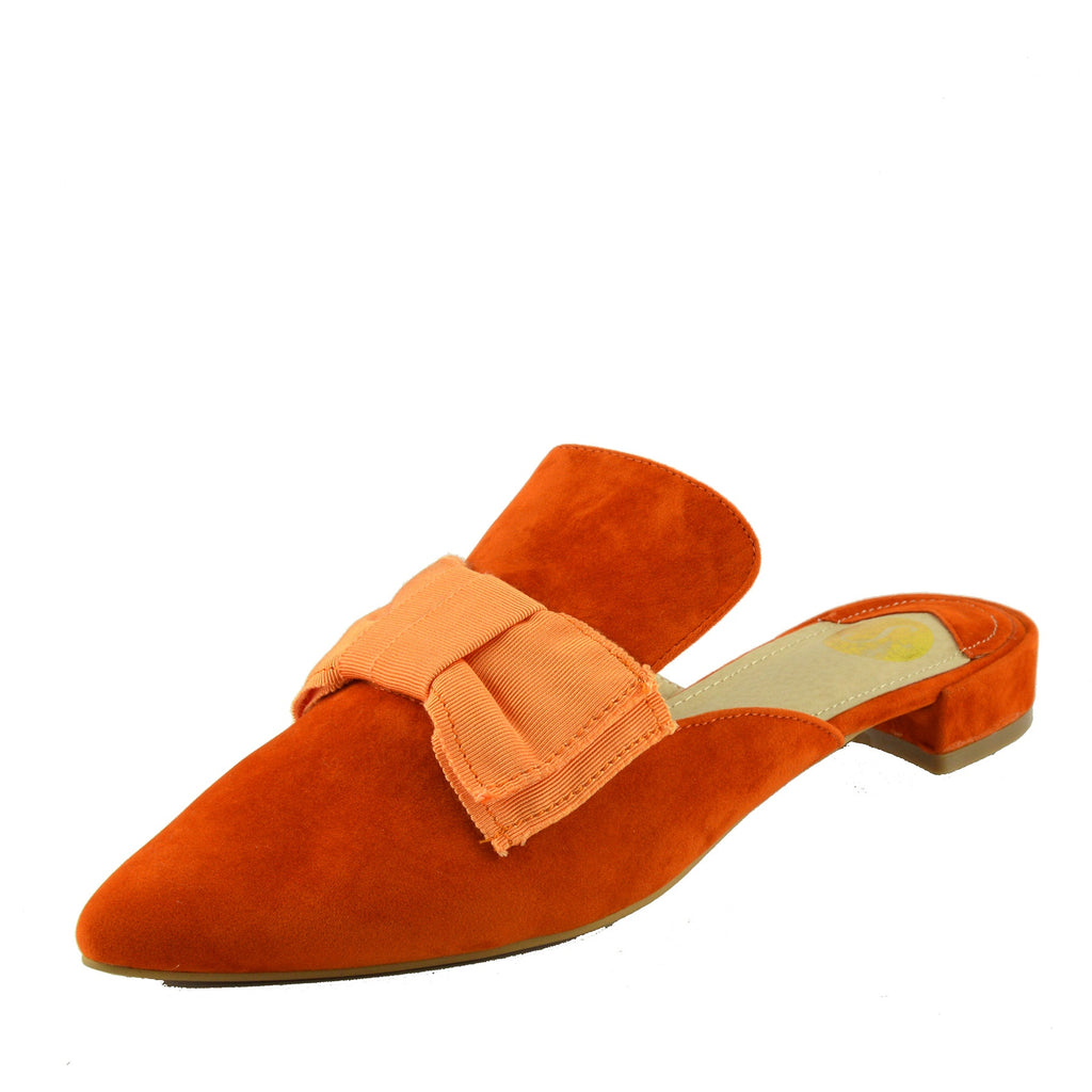 Velvet Point Slipper Mules - Orange