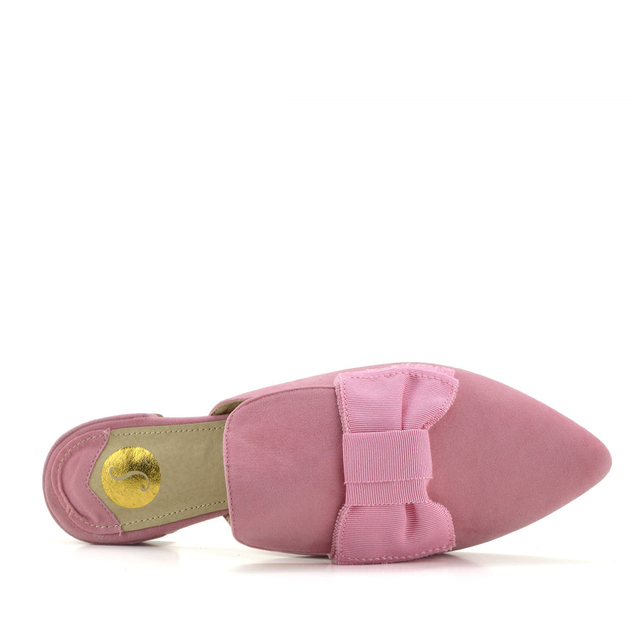 Women's Yellow Velvet Point Slipper Shoes  Casual Mules Pointed Flat Slippers - Pink