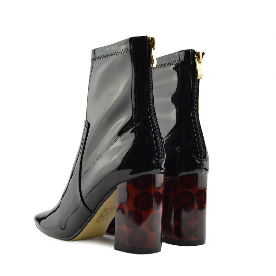 Womens Ankle Boots Sexy High-heel Block-heel Ankle-high Black Patent Boots - Black Patent