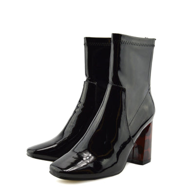 Coco Retro Tortoise Block Heel Sock Boot - Black Patent