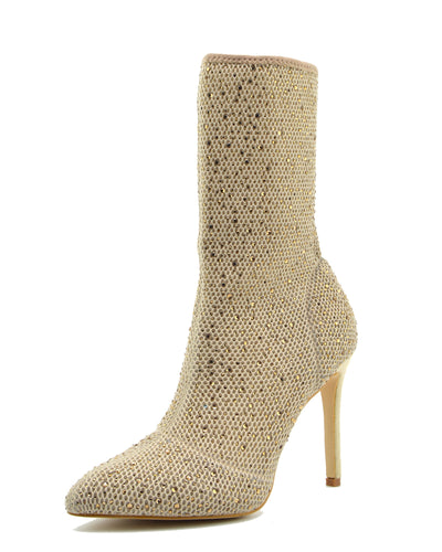 Flaunt Glitter Mesh Sock Party Stiletto Boots - Nude