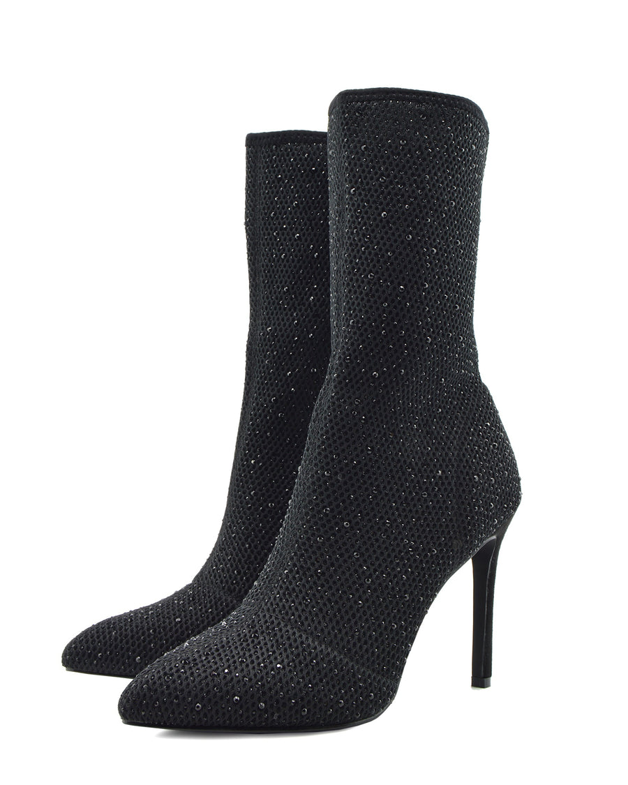 Flaunt Glitter Mesh Sock Party Stiletto Boots - Black