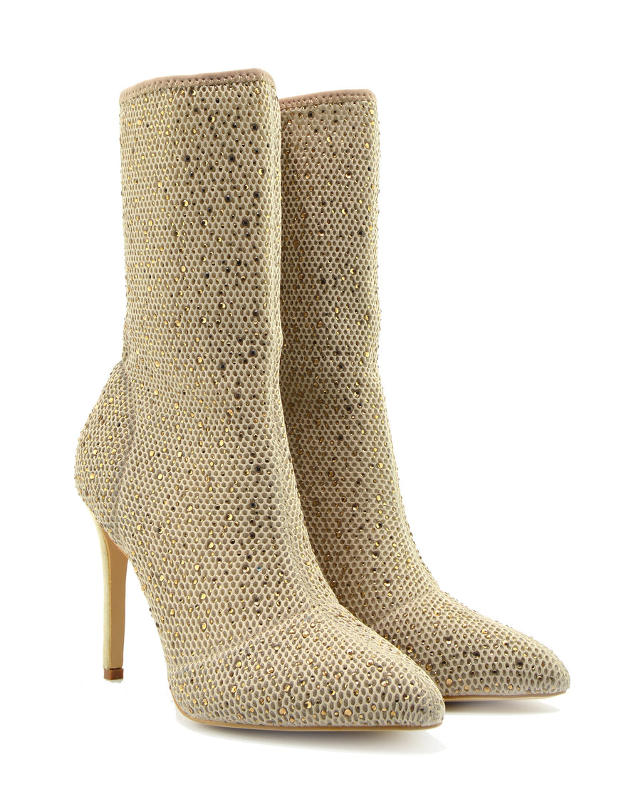 Womens Stretch High Stiletto Heel Ladies Shoes Pointed Toe Heeled Ankle Boots - Beige