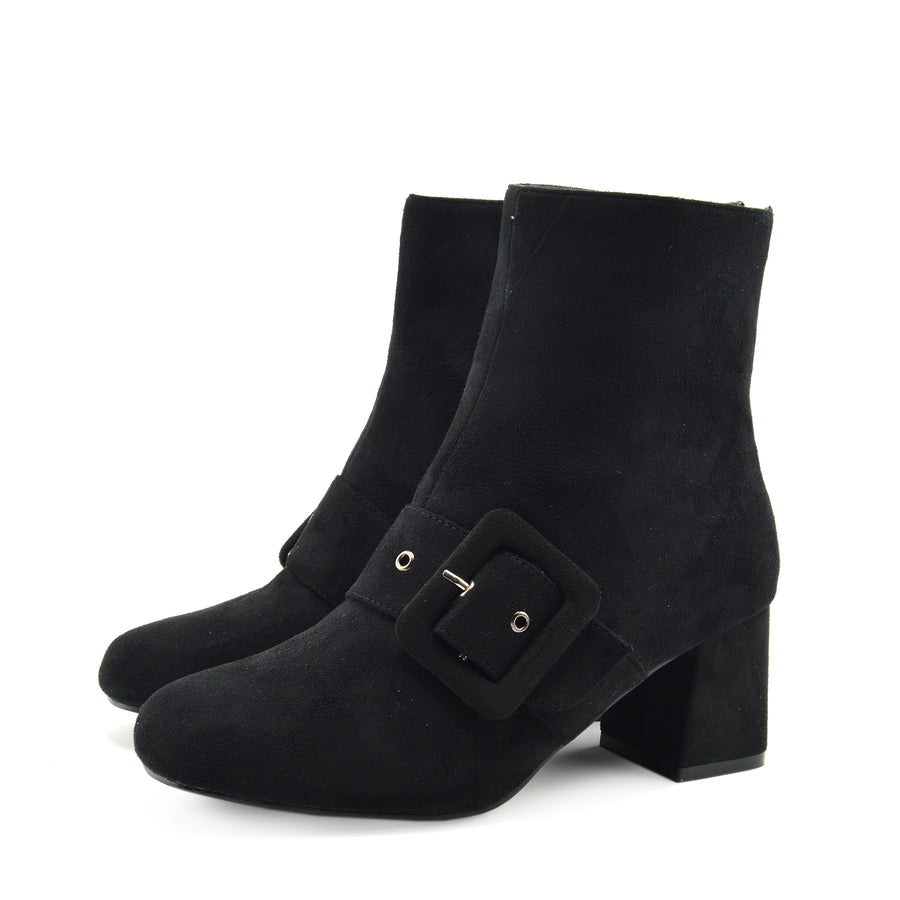Womens Grey, Black Buckle Heeled Ankle Boots Winter Fashion Casual Shoes - Black