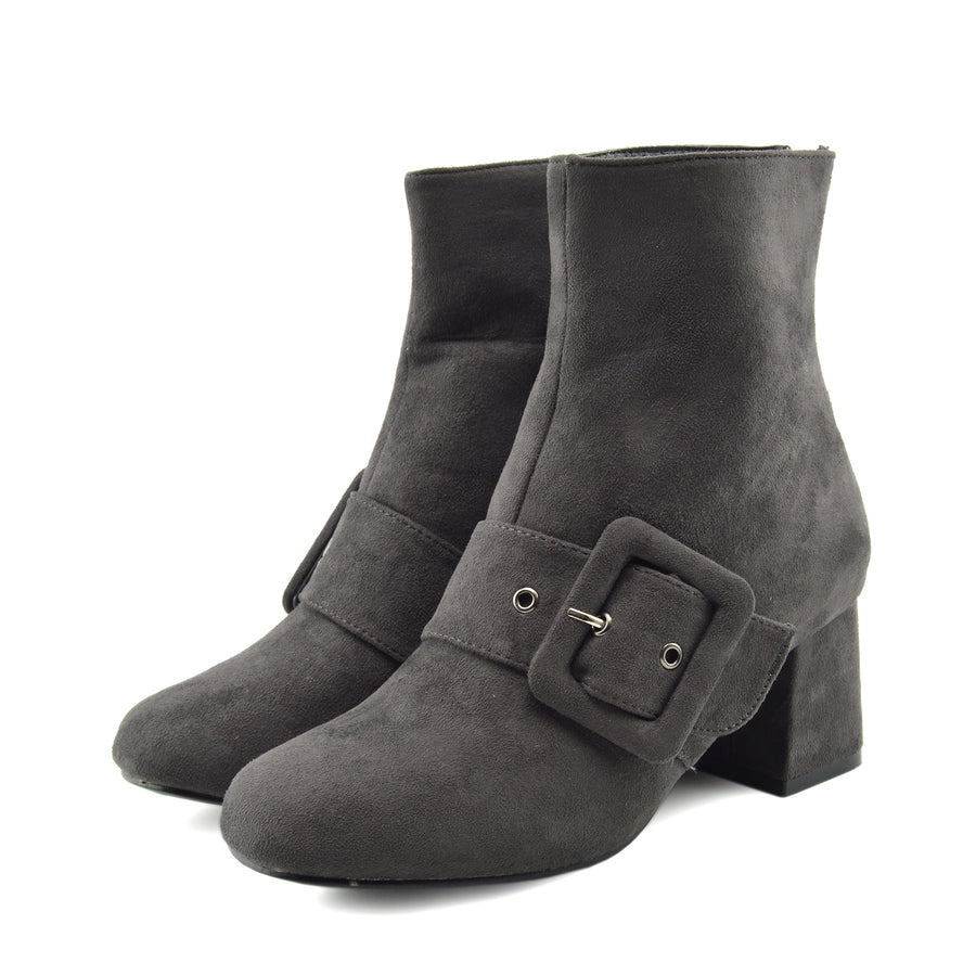 Womens Grey, Black Buckle Heeled Ankle Boots Winter Fashion Casual Shoes - Grey
