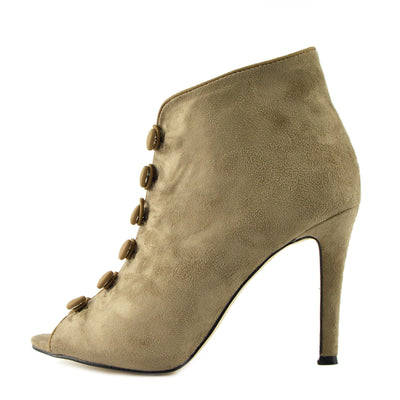 Womens Ladies Lace Up Heels Ankle Boot , Stiletto Heels Ankle Booties - Taupe
