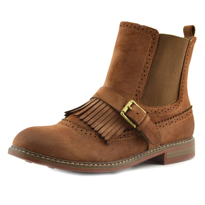 Womens Ankle Fashion Ladies Pull On Fringe Chelsea Style Boots - Tan