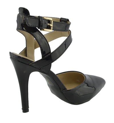 Womens ankle straps mid high heel patent ankle straps shoes - Black