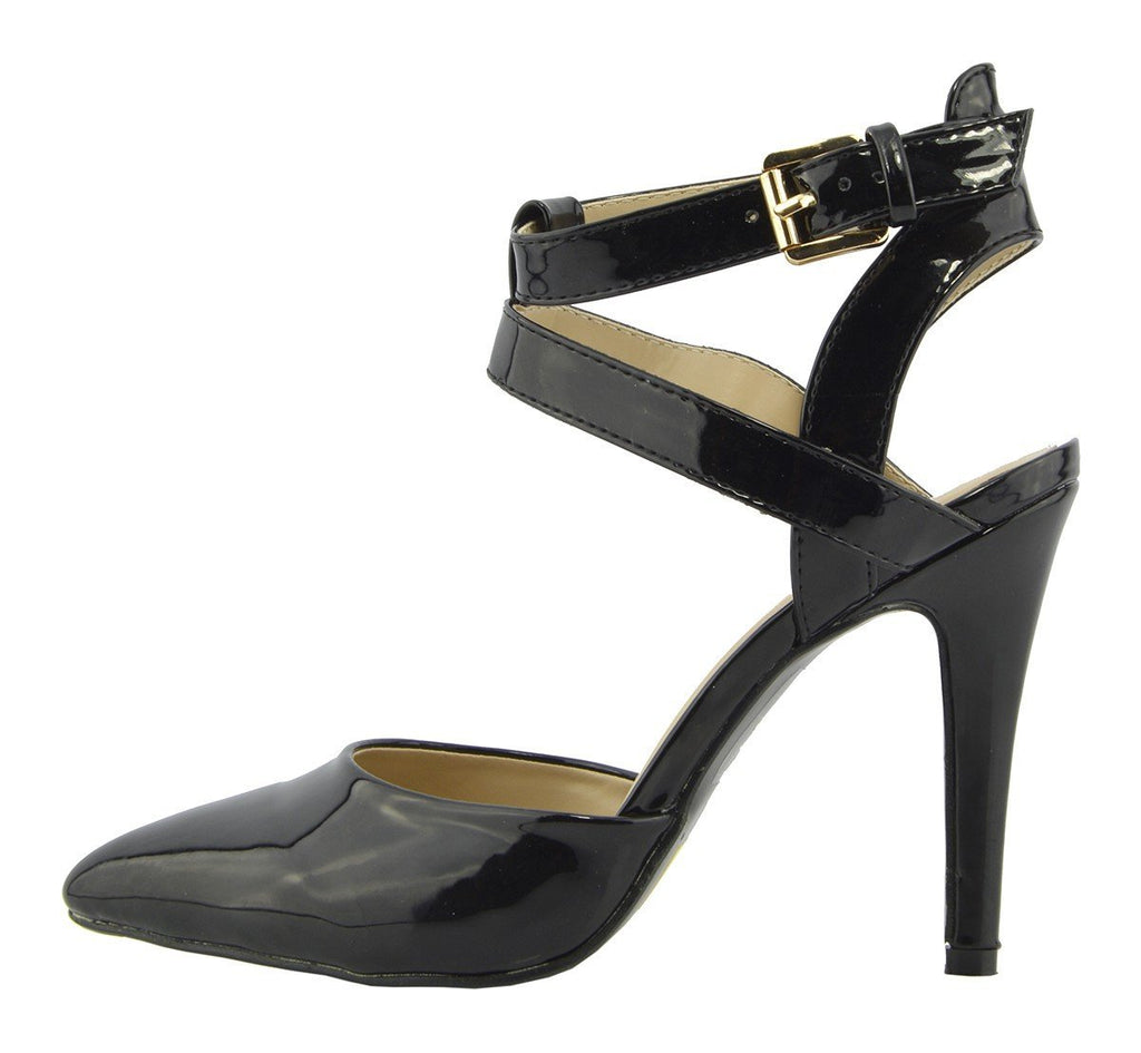 High Ankle Strap Pointed Shoes - Black