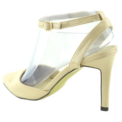 Mid Heel Ankle Strap Smart Shoes - Nude