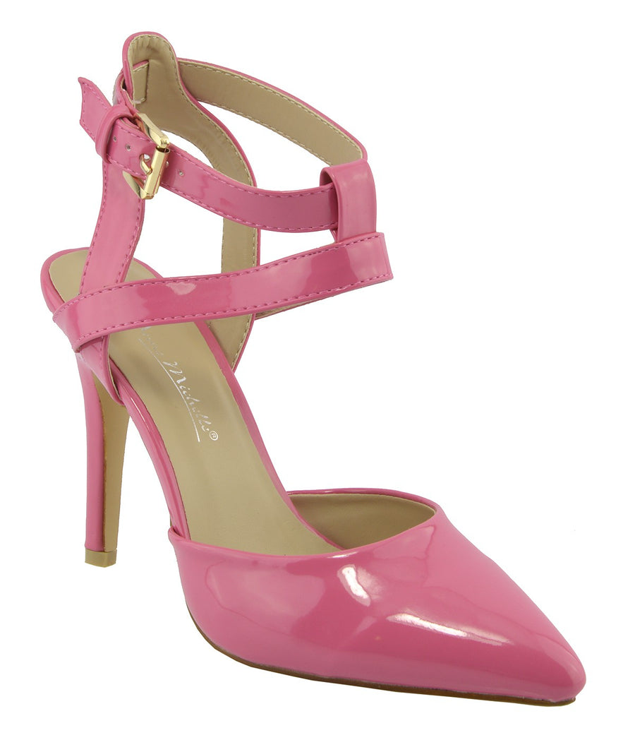 Womens ankle straps mid high heel patent ankle straps shoes - Coral