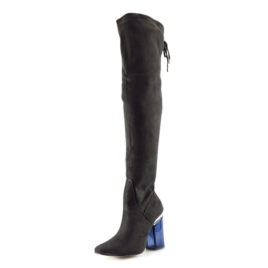 Sadie Over the Knee Blue Perspex Heel Boots - Grey