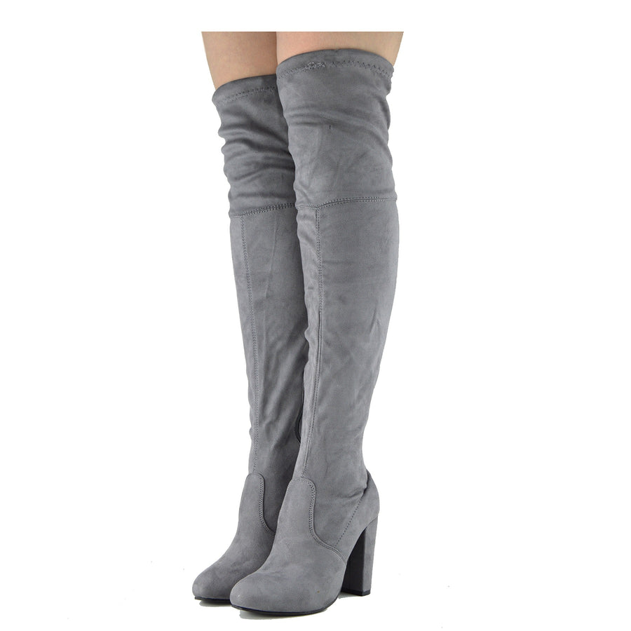 Sadie Over the Knee Thigh High Block Metallic Heel Boots - Grey Silver