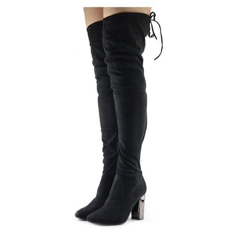 Sadie Over the Knee Thigh High Block Metallic Heel Boots - Black