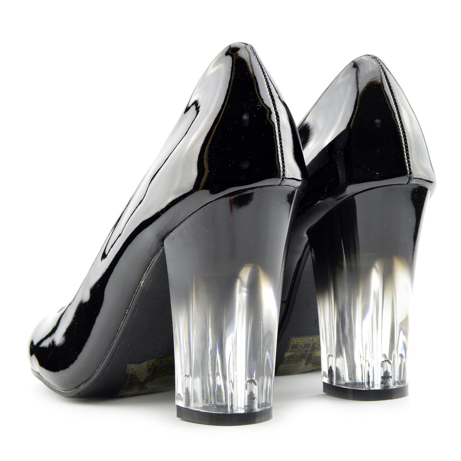 Womens Black Patent Clear Block Heel Round Toe Court Office Work Shoe - Black Patent