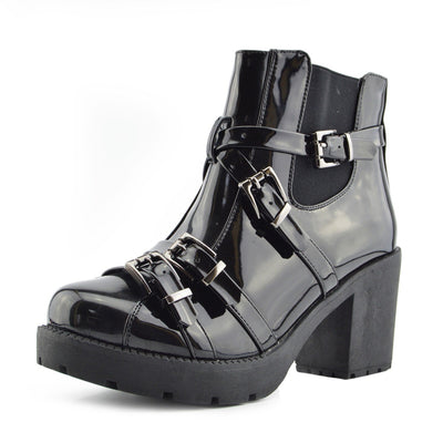 Tate Shiny Buckle Block Heel Boots - Black