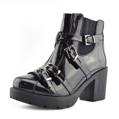 Tate Shiny Buckle Block Heel Grunge Boots - Black