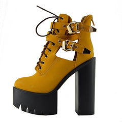Robyn Cut Our Buckle Cleated Platform Shoes - Honey D4779
