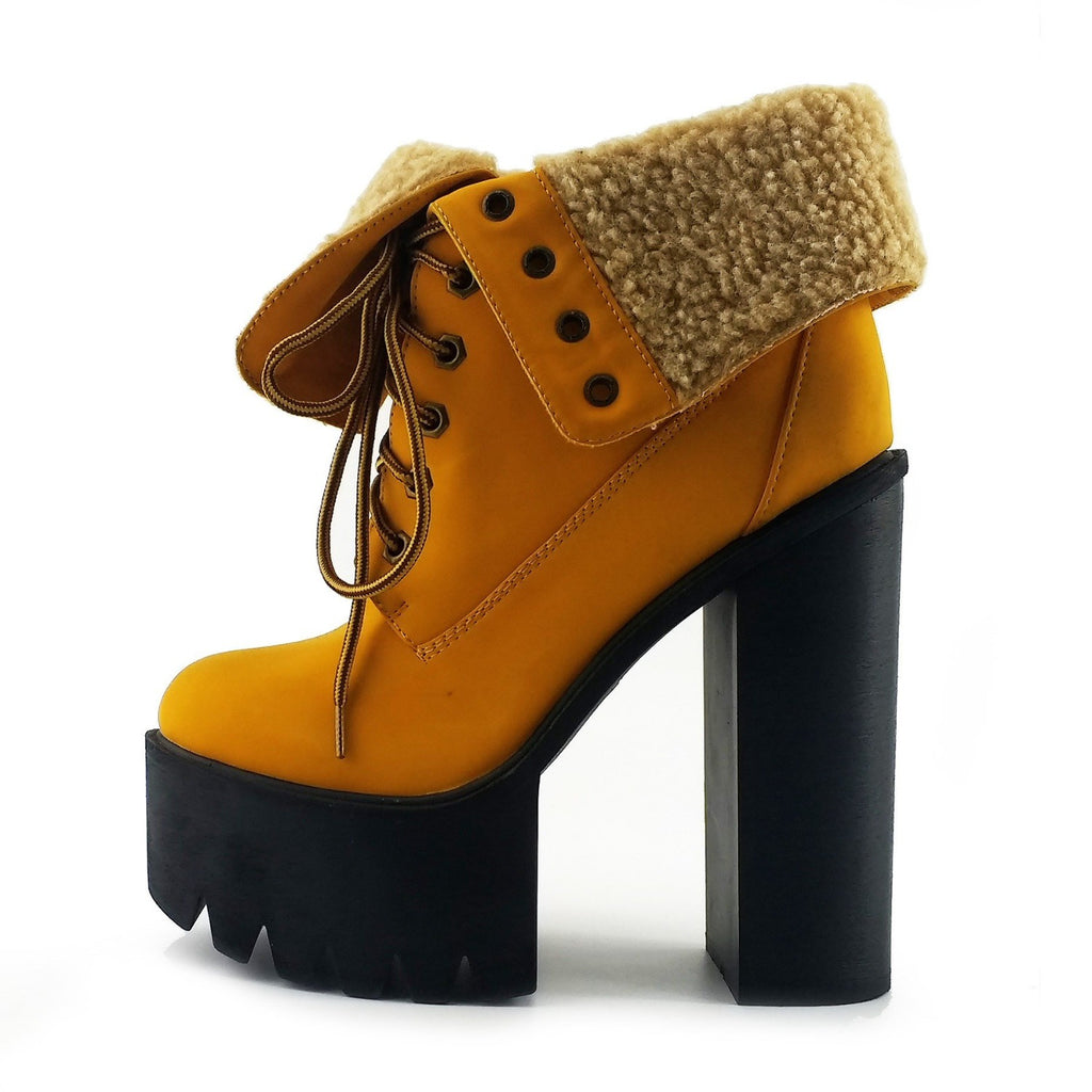 Robyn Cleated Platform Soft Folded Top Lace Up Shoes - Honey