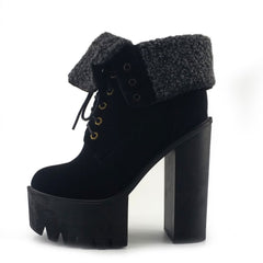 Robyn Cleated Platform Sole Soft Folded Top Lace up Shoes - Black - 1