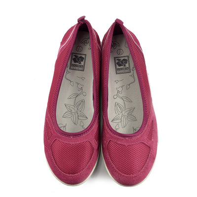 Womens Ladies Flat Mary Jane Walking Pumps Ballerina Comfort Shoes - Magenta F80210