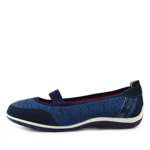 Arbury Flat Mary Jane Walking Ballerina Pumps - Navy-F80209