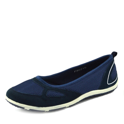 Womens Ladies Flat Mary Jane Walking Pumps Ballerina Comfort Shoes - Navy F80210