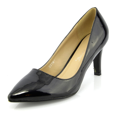 9b12f2ee Womens court shoes Ladies smart mid high heel work office formal shoes -  Black