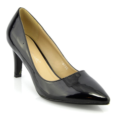 Womens court shoes Ladies smart mid high heel work office formal shoes - Black