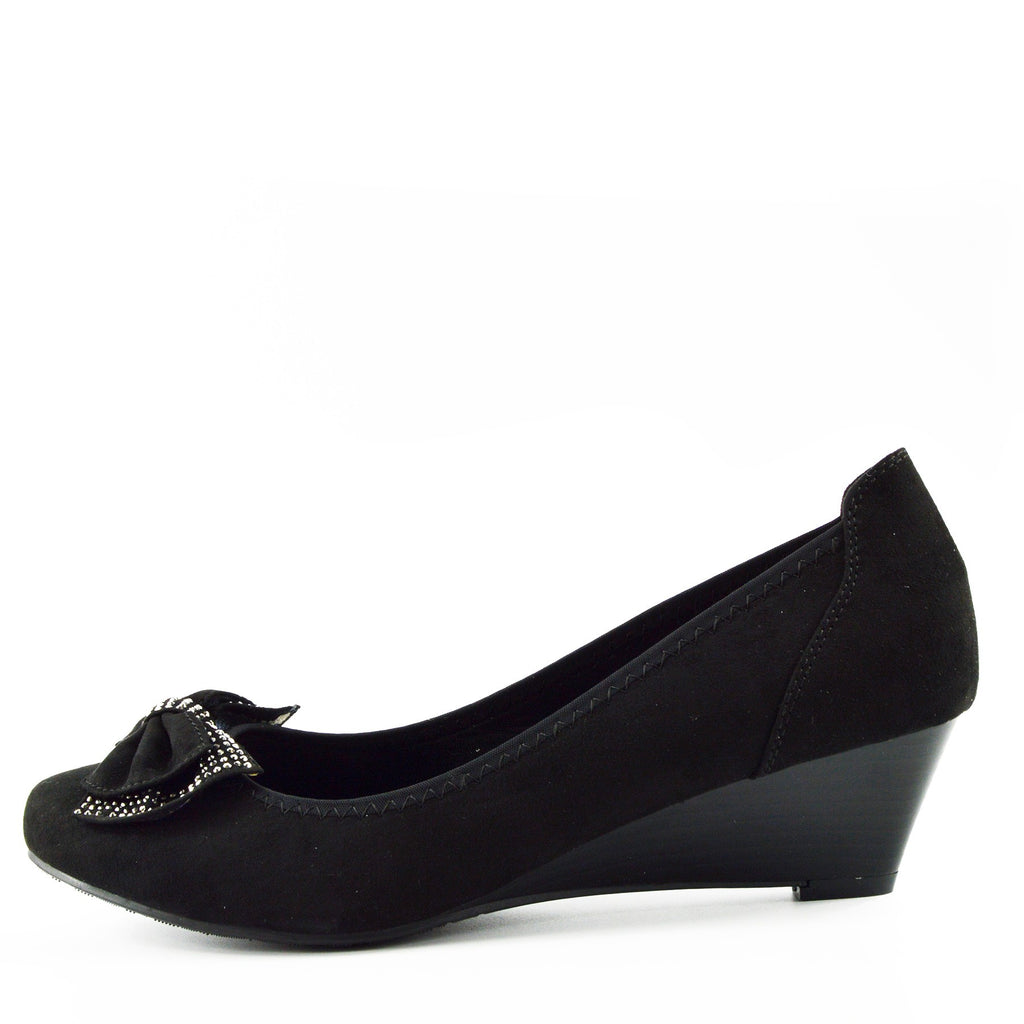 Low Bow Wedge Smart Shoes - Black