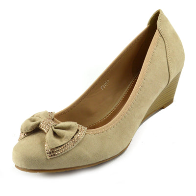 WOMENS FAUX SUEDE LOW HEEL WEDGE CASUAL WORK POSH COURT SHOES - Nude 2