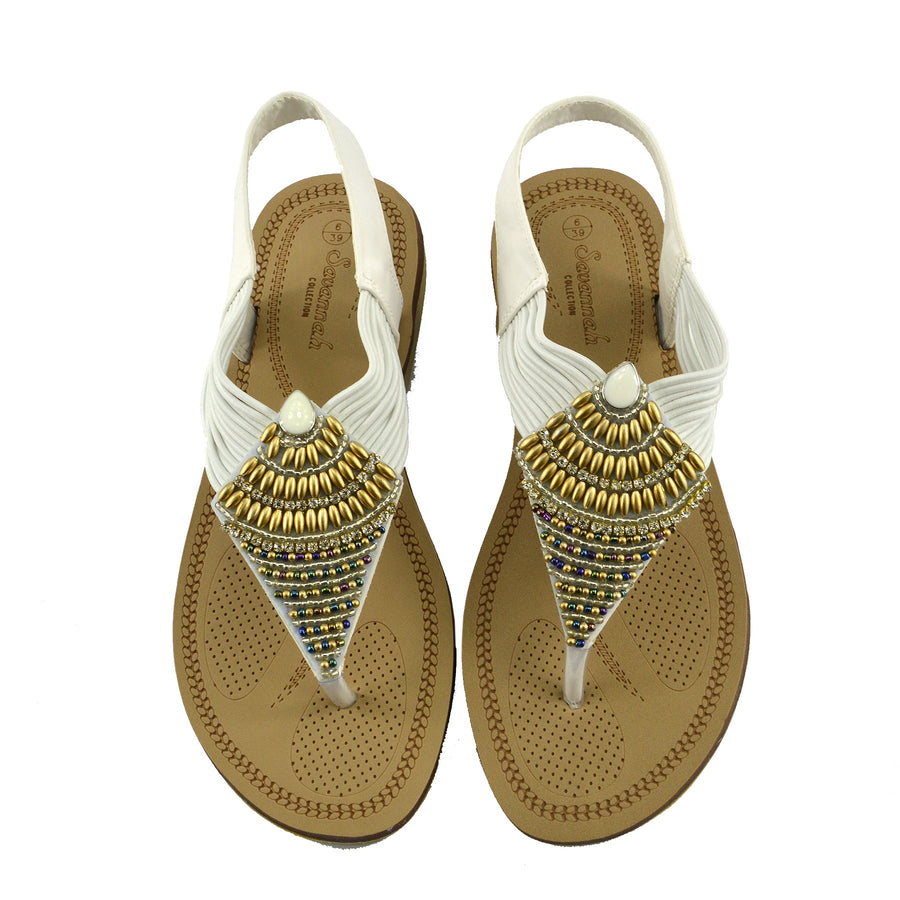 WOMENS GLADIATOR SUMMER BEACH FLIP FLOP HOLIDAY SANDALS SHOES - White