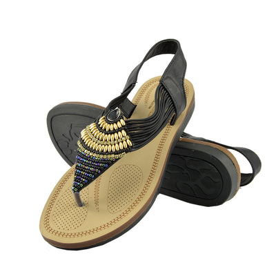 WOMENS GLADIATOR SUMMER BEACH FLIP FLOP HOLIDAY SANDALS SHOES - Black