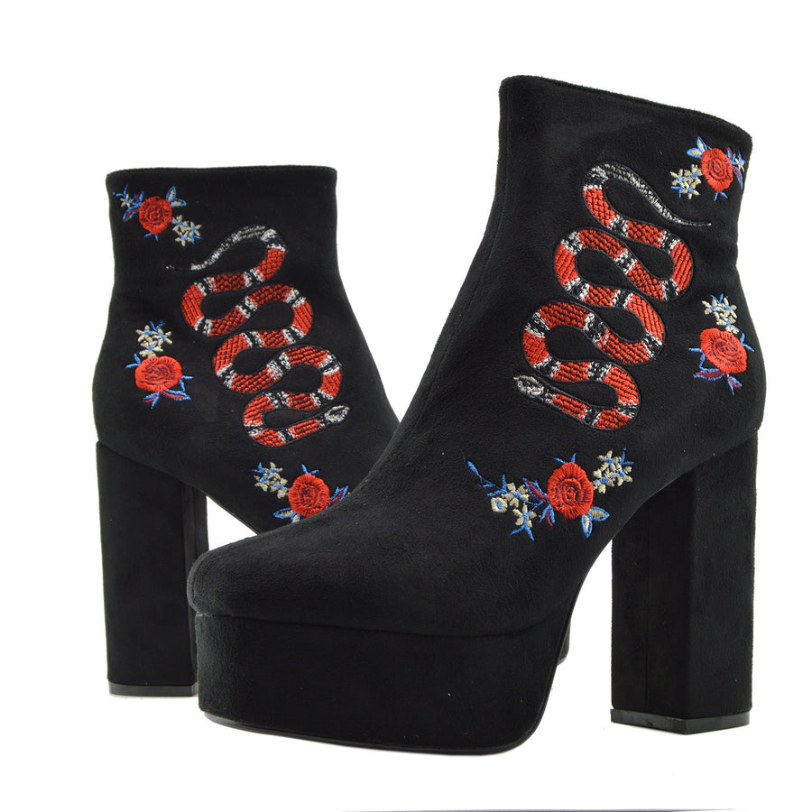 Womens Heeled Ankle Boots Fashion Style Floral Print Ankle Platform Shoes - Black