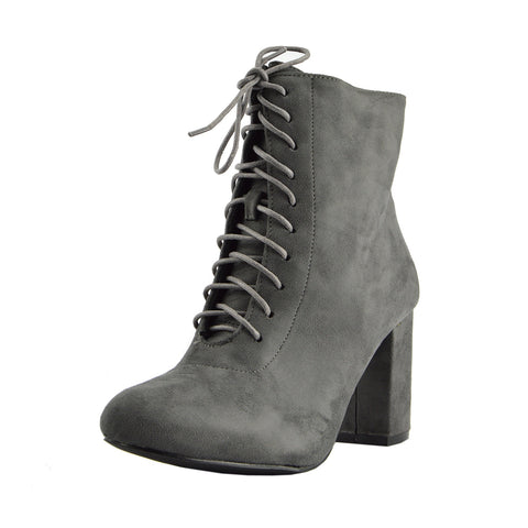 Bronx Block Heel Lace Up Zip Ankle Boots- Grey