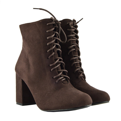 Bronx Block Heel Lace Up Zip Ankle Boots- Brown