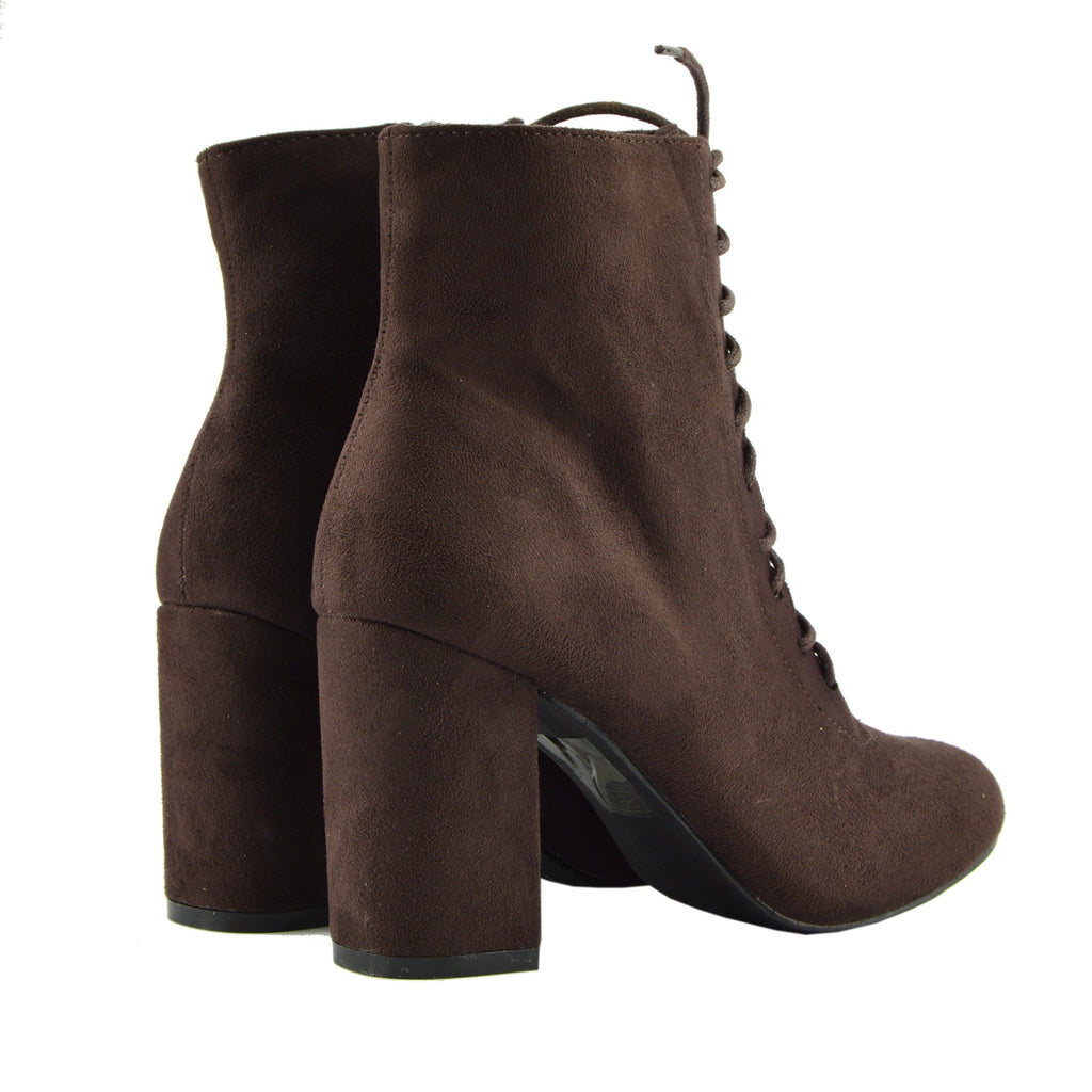 Bronx Block Heel Lace Up Zip Ankle Boots Brown