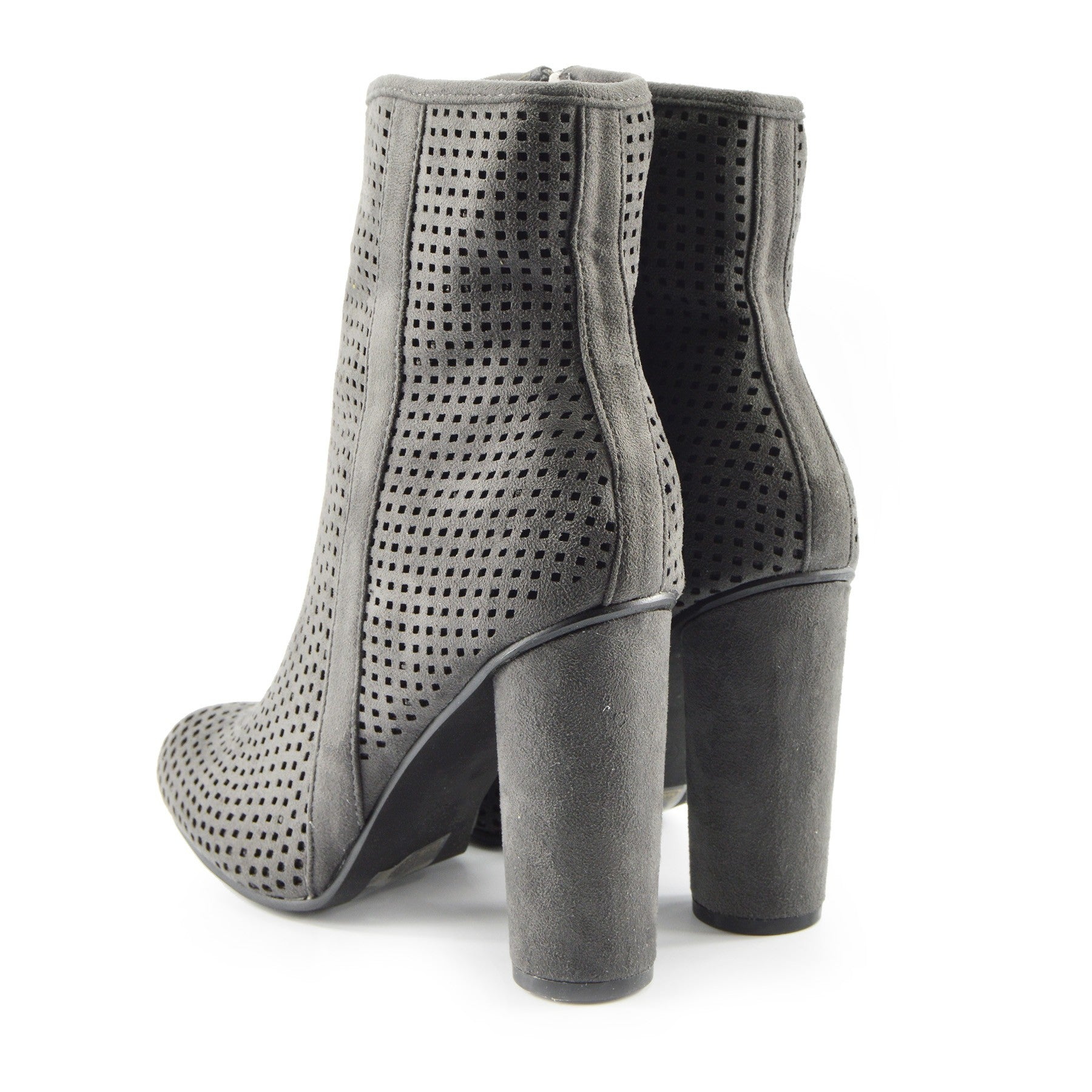 1d3f835dfaed Molly Perforated Pattern Block Heel Ankle Boot - Grey - Kickfootwear