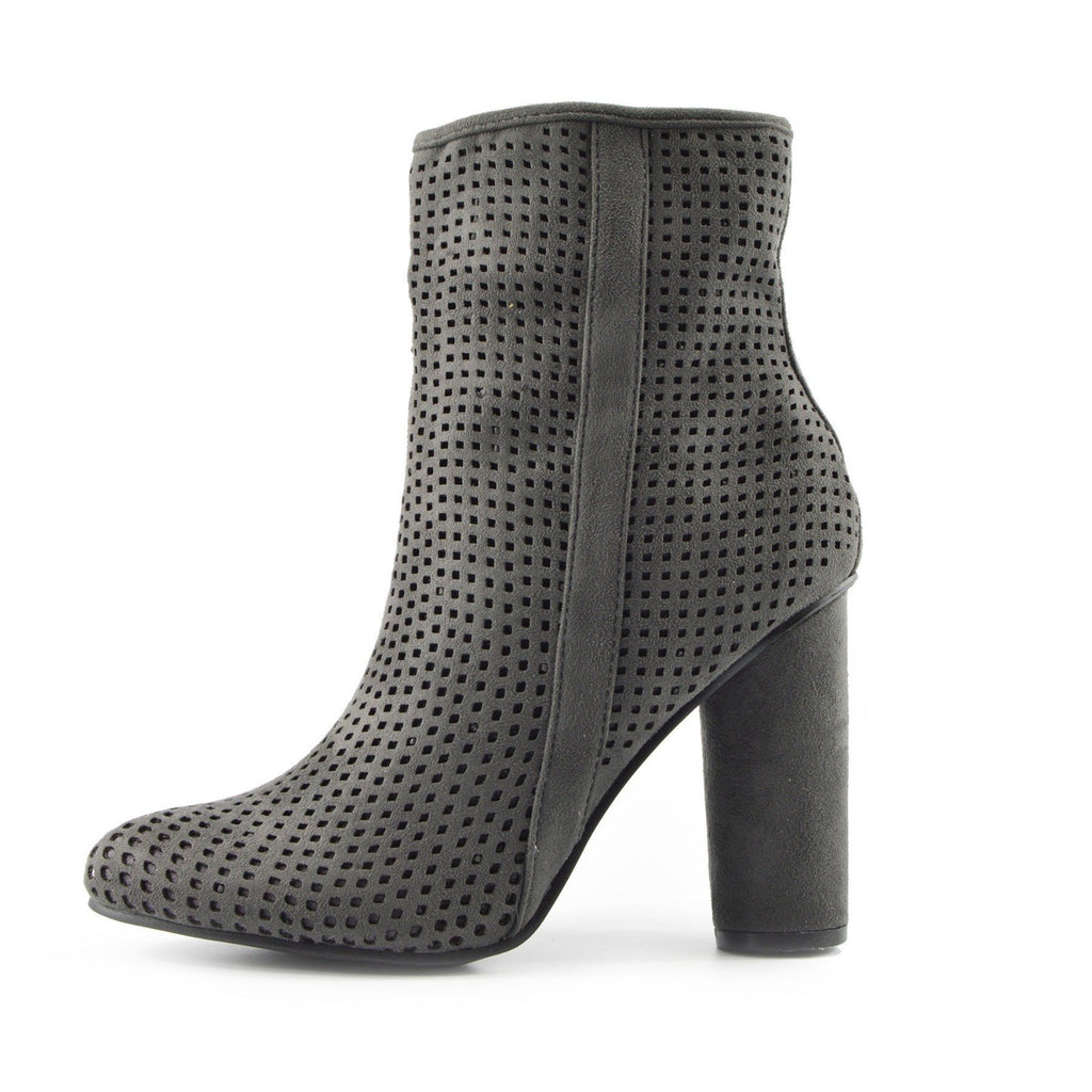 Molly Perforated Pattern Block Heel Ankle Boot - Grey