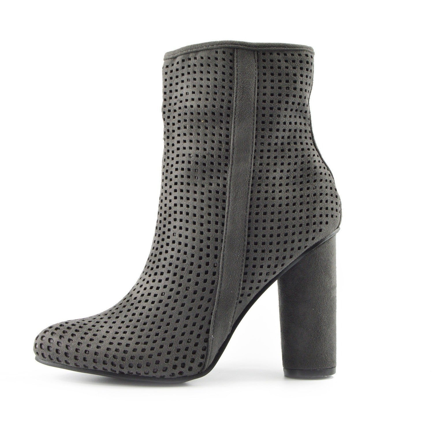 05f3f06ac4d Molly Perforated Pattern Block Heel Ankle Boot - Grey - Kickfootwear