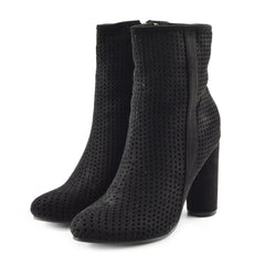 Molly Perforated Pattern Block Heel Ankle Boot - Black