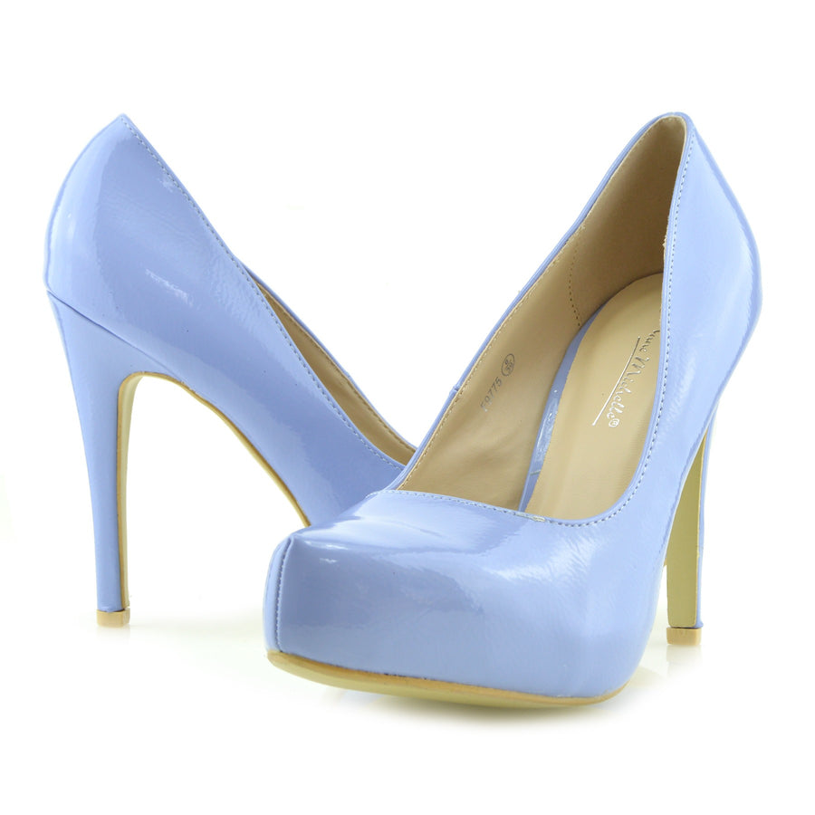 Womens High Heels Classic Party Evening Ladies Court Shoes - Blue