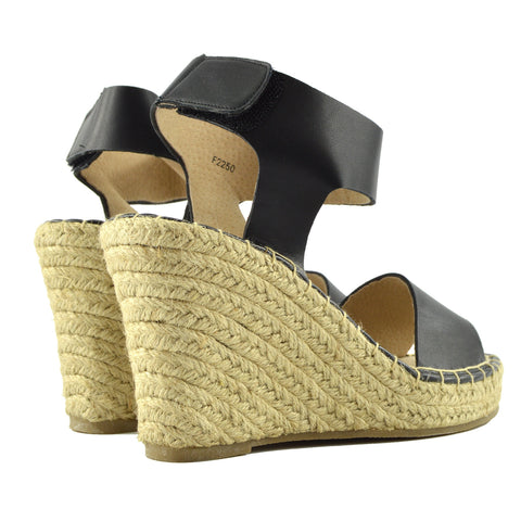 Wedge Black Ankle Strap Espadrille Sandals