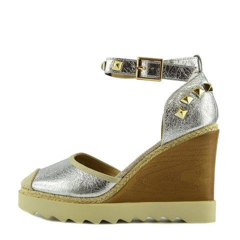 Chunky Stud Platfrom Espadrilles - Silver