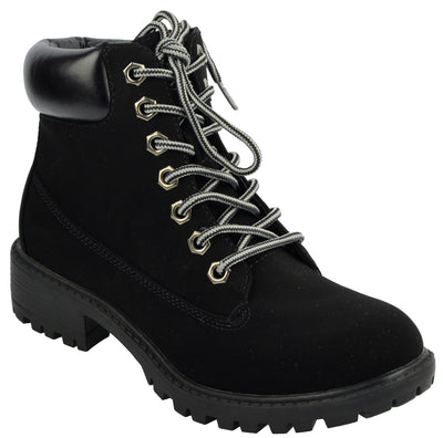Womens lace up ankle flat boots casual combat walking - Black
