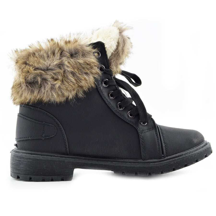 Womens Lace Up Hiker Ankle Boots Faux Fur Lined Midi Boots Winter Warm Grip Sole - Black