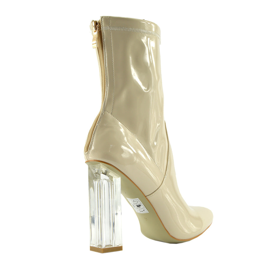 Maddox Celeb Ankle Boot Clear Perspex Block Heel Fashion Shoes - Nude