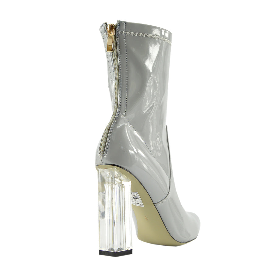 Maddox Celeb Ankle Boot Clear Perspex Block Heel Fashion Shoes - Grey
