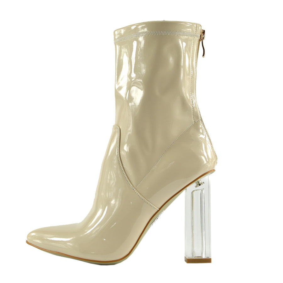 bae9484b35 Maddox Celeb Ankle Boot Clear Perspex Block Heel Fashion Shoes - Nude